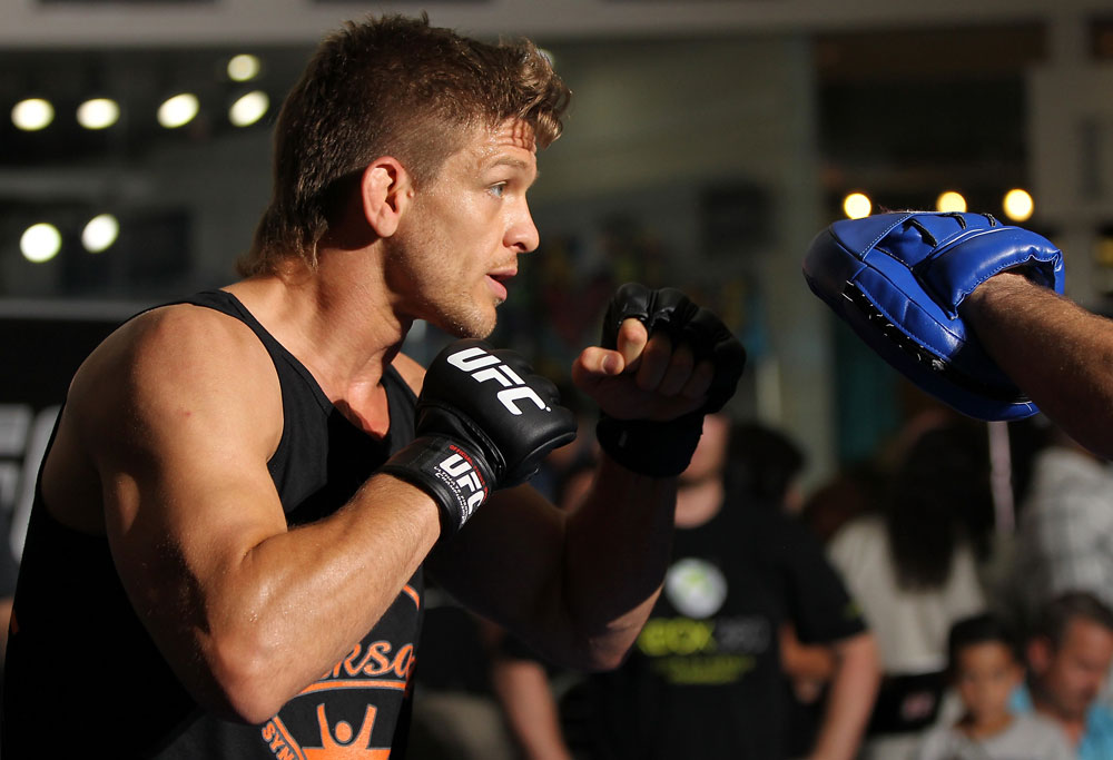 SUNRISE, FL - JUNE 06:   Mike Pyle works out for the fans and media during the UFC open workouts at Sawgrass Mills Mall on June 6, 2012 in Sunrise, Florida.  (Photo by Josh Hedges/Zuffa LLC/Zuffa LLC via Getty Images)
