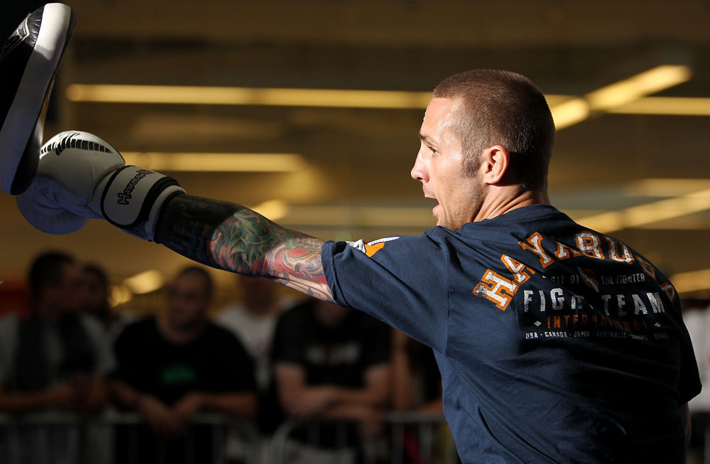 SUNRISE, FL - JUNE 06:   Eddie Wineland works out for fans and media during the UFC open workouts at Sawgrass Mills Mall on June 6, 2012 in Sunrise, Florida.  (Photo by Josh Hedges/Zuffa LLC/Zuffa LLC via Getty Images)