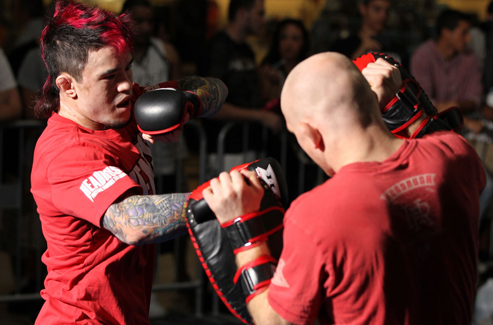 SUNRISE, FL - JUNE 06:   Scott Jorgensen works out for fans and media during the UFC open workouts at Sawgrass Mills Mall on June 6, 2012 in Sunrise, Florida.  (Photo by Josh Hedges/Zuffa LLC/Zuffa LLC via Getty Images)