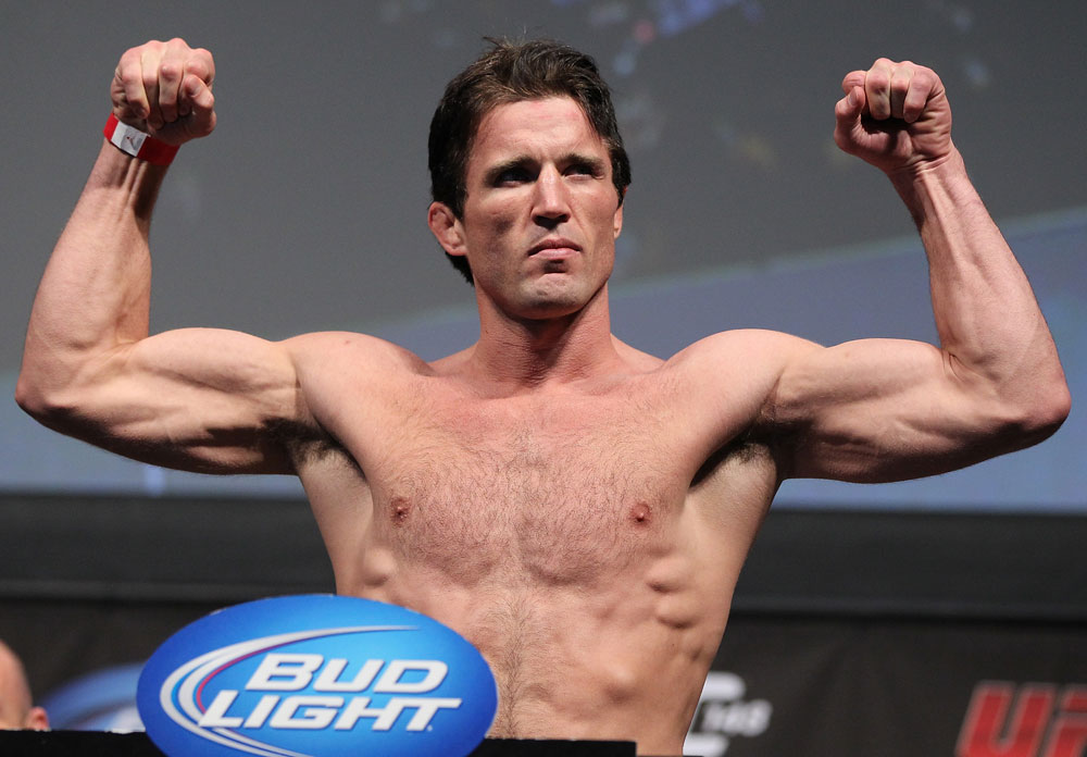 LAS VEGAS, NV - JULY 6:   Chael Sonnen makes weight during the UFC 148 Weigh In at the Mandalay Bay Events Center on July 6, 2012 in Las Vegas, Nevada.  (Photo by Josh Hedges/Zuffa LLC/Zuffa LLC via Getty Images)