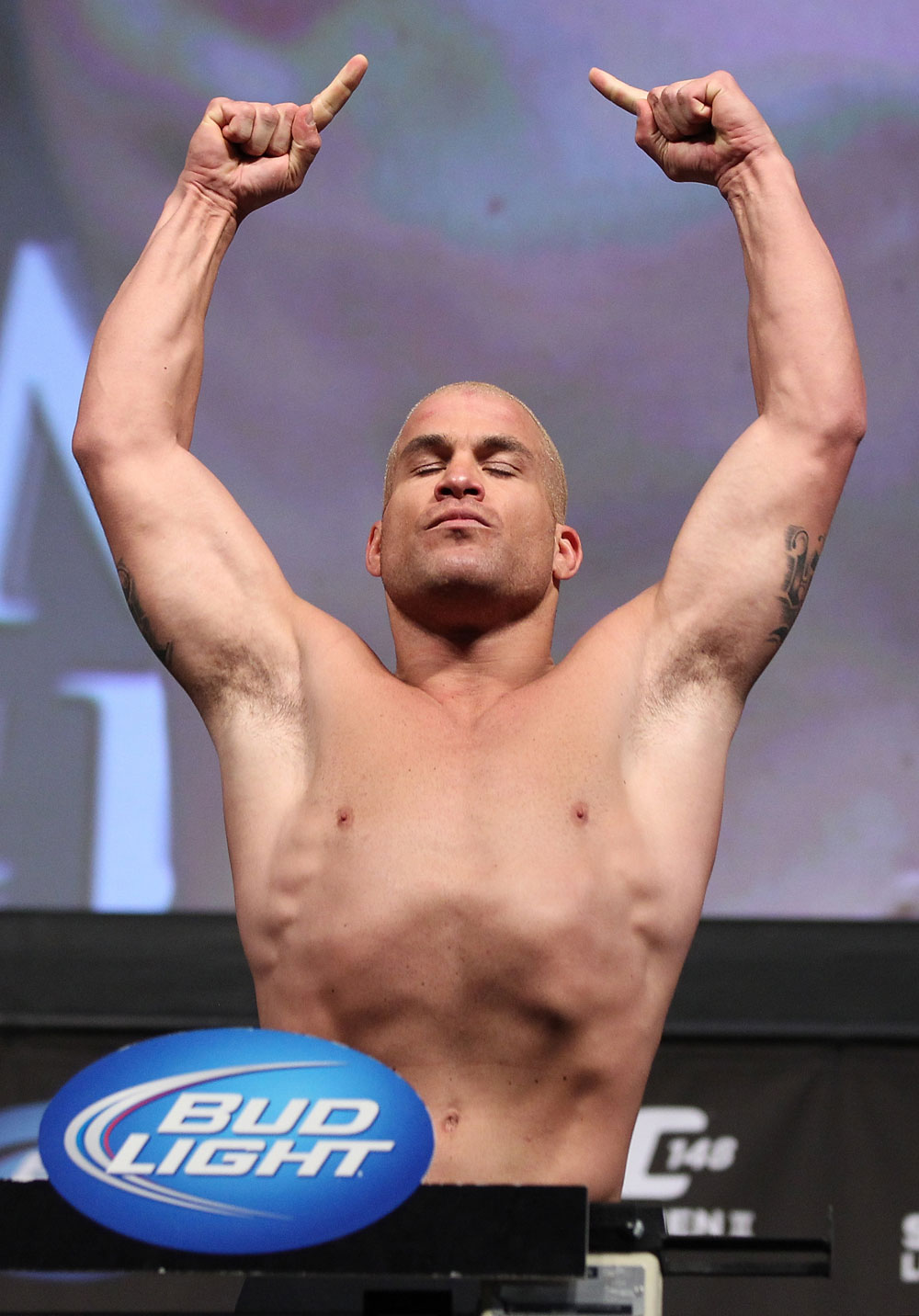LAS VEGAS, NV - JULY 6:   Tito Ortiz makes weight during the UFC 148 Weigh In at the Mandalay Bay Events Center on July 6, 2012 in Las Vegas, Nevada.  (Photo by Josh Hedges/Zuffa LLC/Zuffa LLC via Getty Images)
