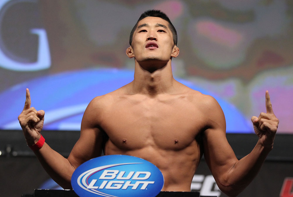 LAS VEGAS, NV - JULY 6:   Dong Hyun Kim makes weight during the UFC 148 Weigh In at the Mandalay Bay Events Center on July 6, 2012 in Las Vegas, Nevada.  (Photo by Josh Hedges/Zuffa LLC/Zuffa LLC via Getty Images)