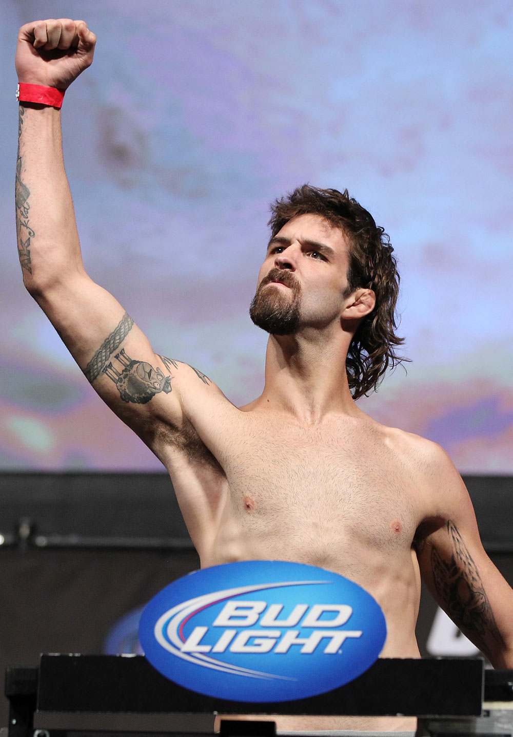 LAS VEGAS, NV - JULY 6:   Cody McKenzie makes weight during the UFC 148 Weigh In at the Mandalay Bay Events Center on July 6, 2012 in Las Vegas, Nevada.  (Photo by Josh Hedges/Zuffa LLC/Zuffa LLC via Getty Images)
