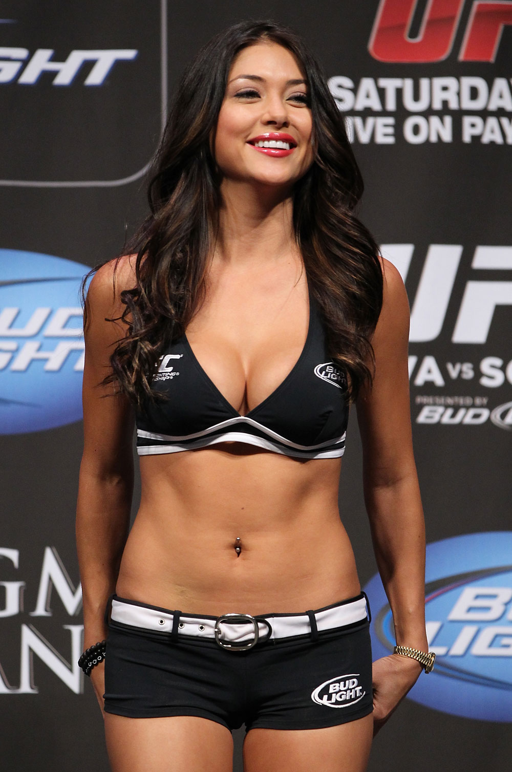LAS VEGAS, NV - JULY 6:   UFC Octagon Girl Arianny Celeste stands on stage during the UFC 148 Weigh In at the Mandalay Bay Events Center on July 6, 2012 in Las Vegas, Nevada.  (Photo by Josh Hedges/Zuffa LLC/Zuffa LLC via Getty Images)