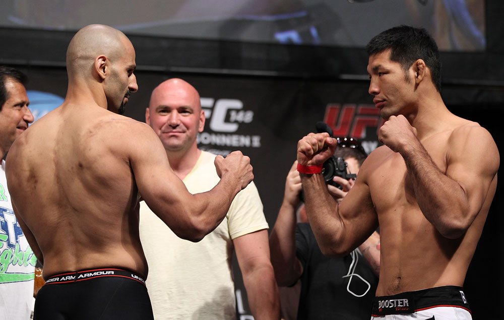 LAS VEGAS, NV - JULY 6:   (L-R) Opponents Constantinos Philippou and Riki Fukuda face off during the UFC 148 Weigh In at the Mandalay Bay Events Center on July 6, 2012 in Las Vegas, Nevada.  (Photo by Josh Hedges/Zuffa LLC/Zuffa LLC via Getty Images)
