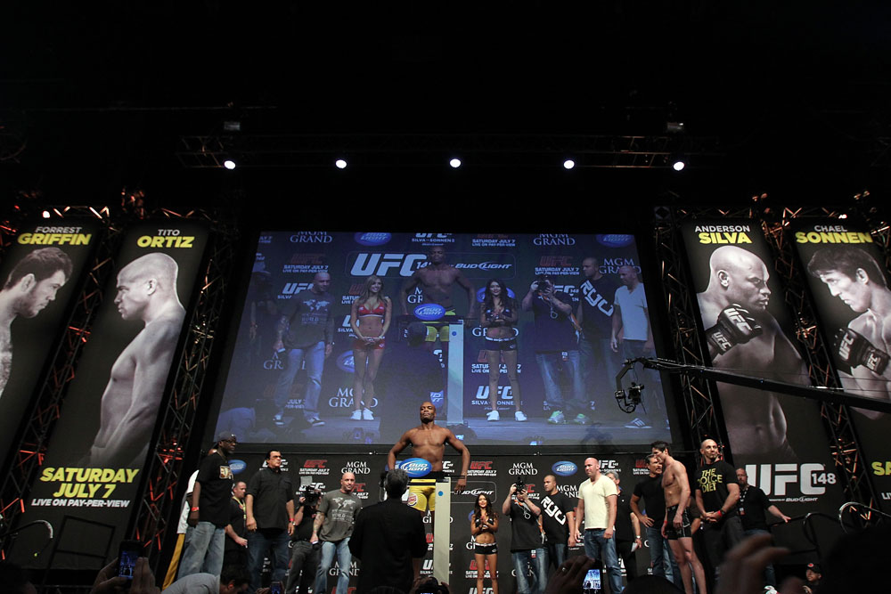 LAS VEGAS, NV - JULY 6:   &lt;&lt;CAPTION&gt;&gt; during the UFC 148 Weigh In at the Mandalay Bay Events Center on July 6, 2012 in Las Vegas, Nevada.  (Photo by Josh Hedges/Zuffa LLC/Zuffa LLC via Getty Images)