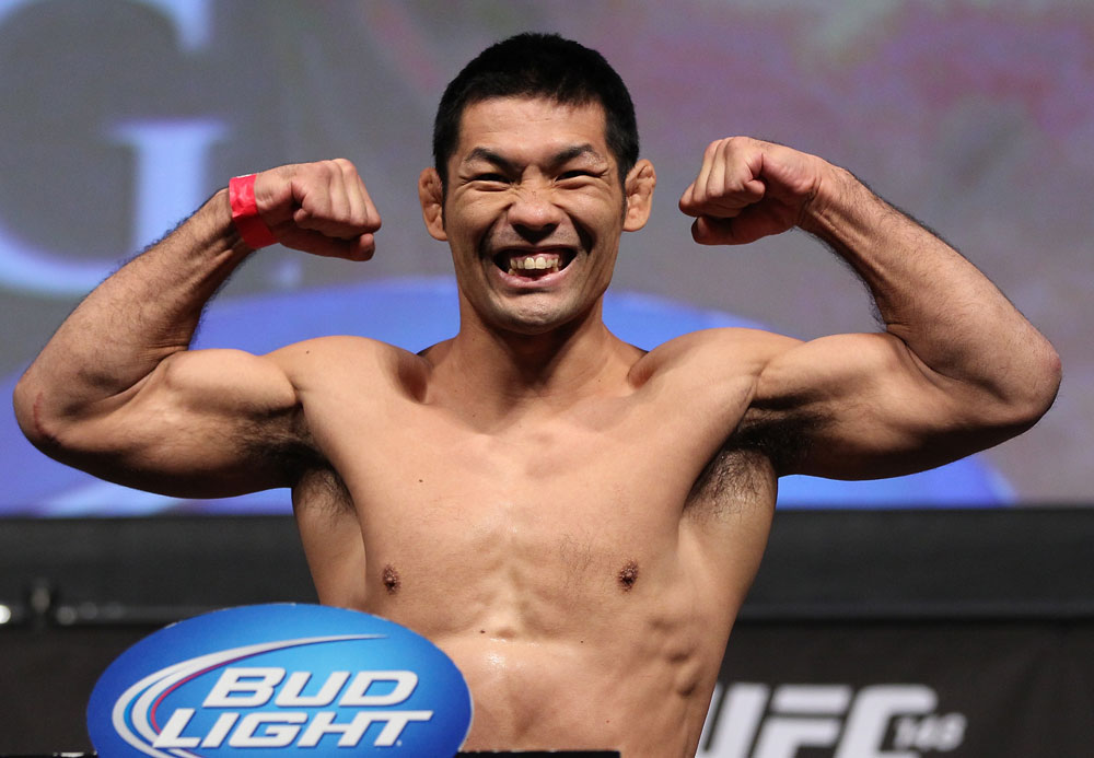 LAS VEGAS, NV - JULY 6:   Riki Fukuda makes weight during the UFC 148 Weigh In at the Mandalay Bay Events Center on July 6, 2012 in Las Vegas, Nevada.  (Photo by Josh Hedges/Zuffa LLC/Zuffa LLC via Getty Images)