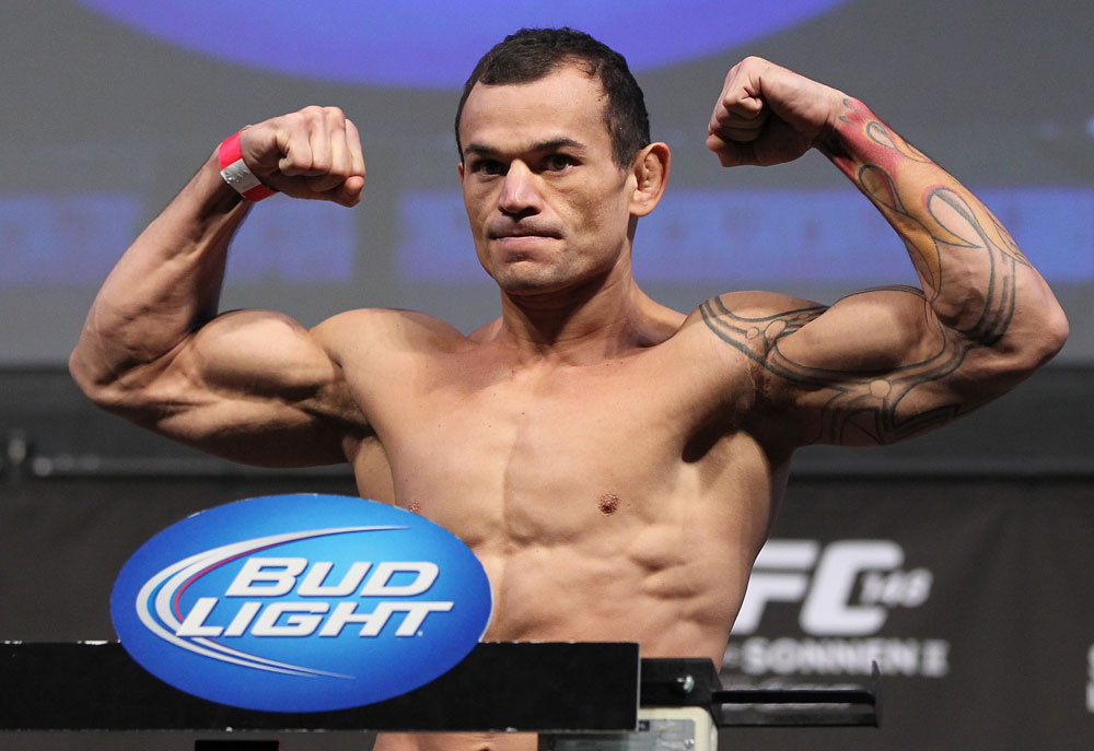 LAS VEGAS, NV - JULY 6:   Gleison Tibau makes weight during the UFC 148 Weigh In at the Mandalay Bay Events Center on July 6, 2012 in Las Vegas, Nevada.  (Photo by Josh Hedges/Zuffa LLC/Zuffa LLC via Getty Images)