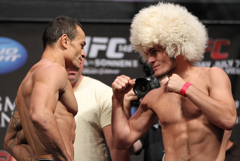 LAS VEGAS, NV - JULY 6:   (L-R) Opponents Gleison Tibau and Khabib Nurmagomedov face off during the UFC 148 Weigh In at the Mandalay Bay Events Center on July 6, 2012 in Las Vegas, Nevada.  (Photo by Josh Hedges/Zuffa LLC/Zuffa LLC via Getty Images)