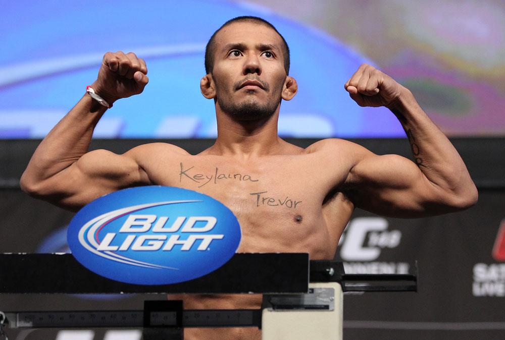 LAS VEGAS, NV - JULY 6:   Ivan Menjivar makes weight during the UFC 148 Weigh In at the Mandalay Bay Events Center on July 6, 2012 in Las Vegas, Nevada.  (Photo by Josh Hedges/Zuffa LLC/Zuffa LLC via Getty Images)