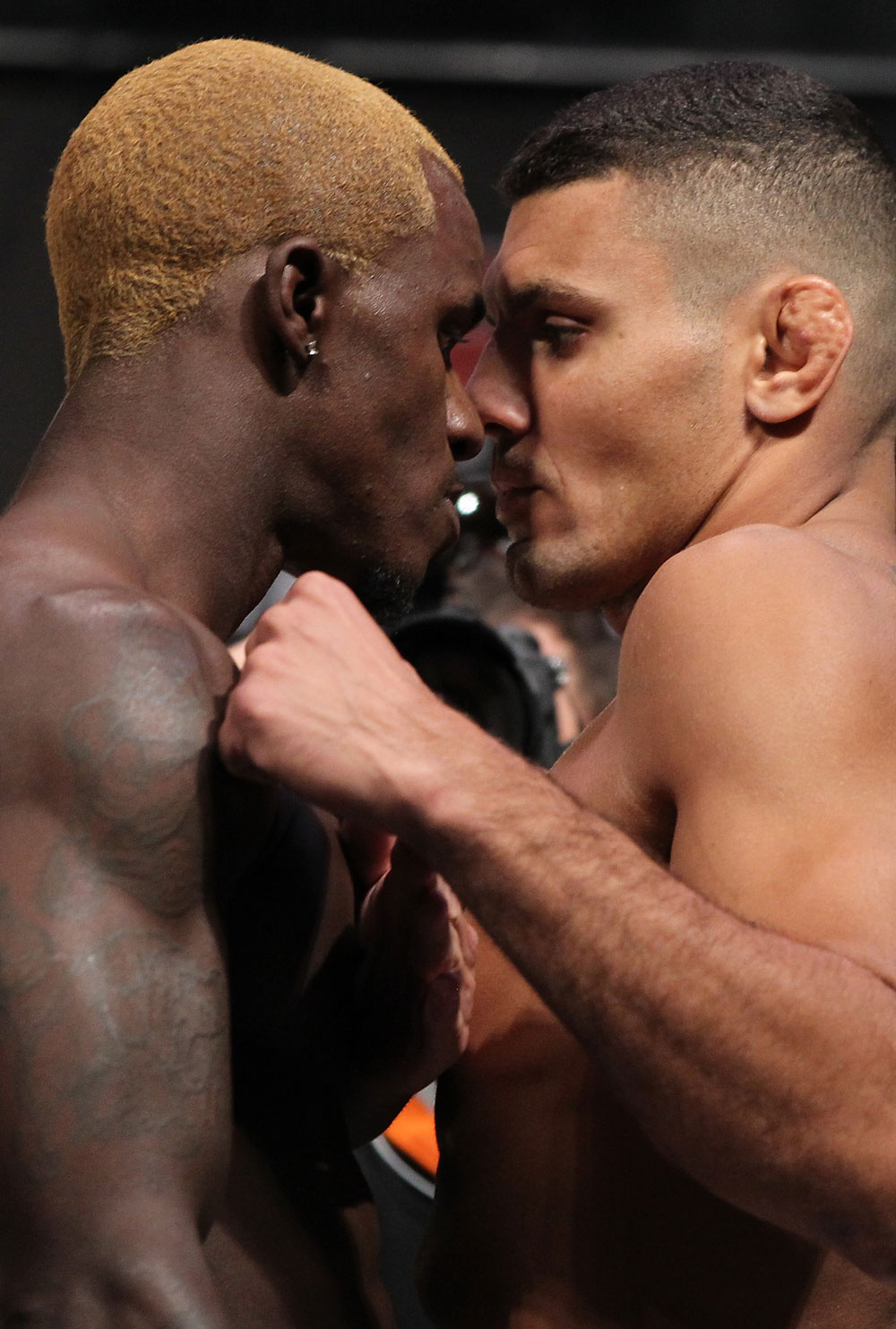 LAS VEGAS, NV - JULY 6:   (L-R) Opponents Melvin Guillard and Fabricio Camoes face off during the UFC 148 Weigh In at the Mandalay Bay Events Center on July 6, 2012 in Las Vegas, Nevada.  (Photo by Josh Hedges/Zuffa LLC/Zuffa LLC via Getty Images)