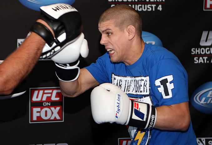 LOS ANGELES - AUGUST 01:  Joe Lauzon works out for the media during the UFC on FOX open workouts at the J.W. Marriott on August 1, 2012 in Los Angeles, California. (Photo by Josh Hedges/Zuffa LLC/Zuffa LLC via Getty Images)