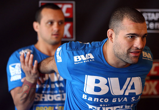 "LOS ANGELES - AUGUST 01:  Mauricio ""Shogun"" Rua works out for the media during the UFC on FOX open workouts at the J.W. Marriott on August 1, 2012 in Los Angeles, California. (Photo by Josh Hedges/Zuffa LLC/Zuffa LLC via Getty Images)"
