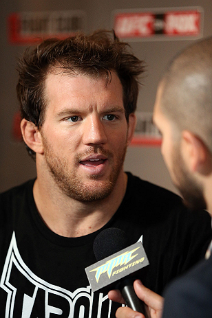 LOS ANGELES - AUGUST 01:  Ryan Bader answers questions from the media during the UFC on FOX open workouts at the J.W. Marriott on August 1, 2012 in Los Angeles, California. (Photo by Josh Hedges/Zuffa LLC/Zuffa LLC via Getty Images)