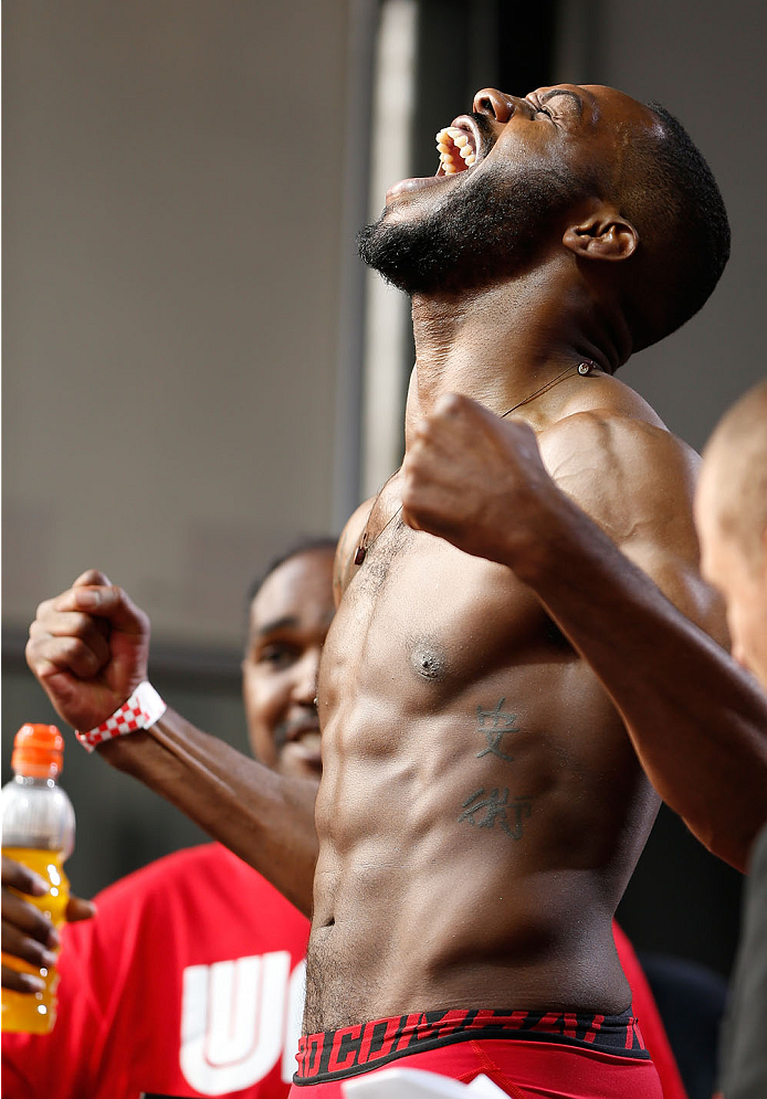 "TORONTO, CANADA - SEPTEMBER 20:  Jon ""Bones"" Jones weighs in during the UFC 165 weigh-in event at Maple Leaf Square outside the Air Canada Centre on September 20, 2013 in Toronto, Ontario, Canada. (Photo by Josh Hedges/Zuffa LLC/Zuffa LLC via Getty Images)"