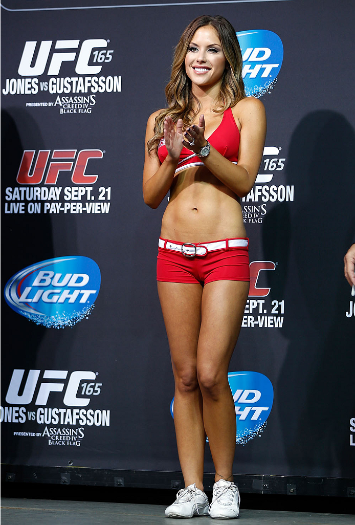 TORONTO, CANADA - SEPTEMBER 20:  UFC Octagon Girl Brittney Palmer stands on stage during the UFC 165 weigh-in event at Maple Leaf Square outside the Air Canada Centre on September 20, 2013 in Toronto, Ontario, Canada. (Photo by Josh Hedges/Zuffa LLC/Zuffa LLC via Getty Images)