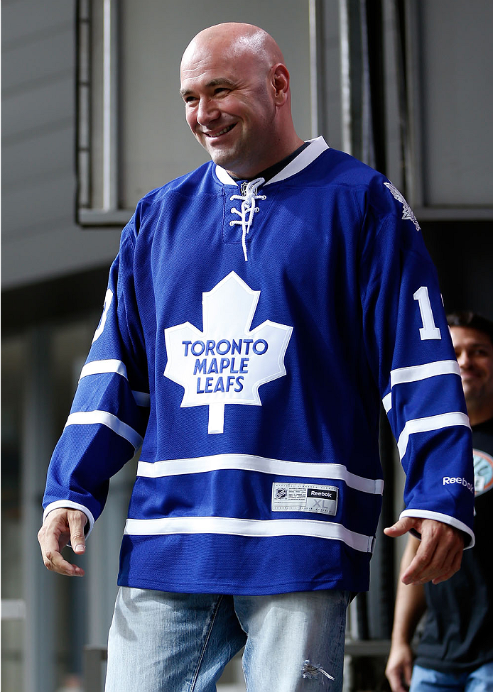 TORONTO, CANADA - SEPTEMBER 20:  UFC President Dana White stands on stage wearing a Toronto Maple Leafs jersey during the UFC 165 weigh-in event at Maple Leaf Square outside the Air Canada Centre on September 20, 2013 in Toronto, Ontario, Canada. (Photo by Josh Hedges/Zuffa LLC/Zuffa LLC via Getty Images)