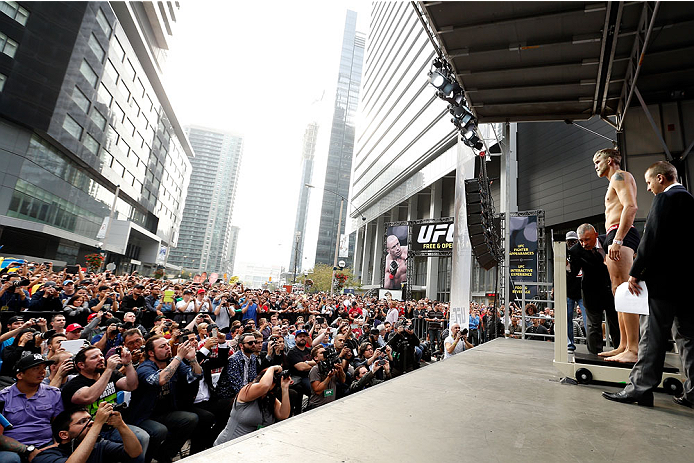 TORONTO, CANADA - SEPTEMBER 20:  Alexander Gustafsson weighs in during the UFC 165 weigh-in event at Maple Leaf Square outside the Air Canada Centre on September 20, 2013 in Toronto, Ontario, Canada. (Photo by Josh Hedges/Zuffa LLC/Zuffa LLC via Getty Images)