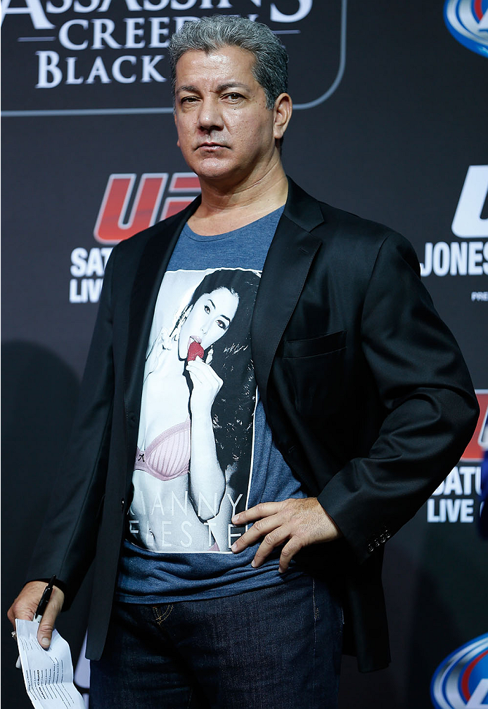 TORONTO, CANADA - SEPTEMBER 20:  UFC announcer Bruce Buffer stands on stage during the UFC 165 weigh-in event at Maple Leaf Square outside the Air Canada Centre on September 20, 2013 in Toronto, Ontario, Canada. (Photo by Josh Hedges/Zuffa LLC/Zuffa LLC via Getty Images)