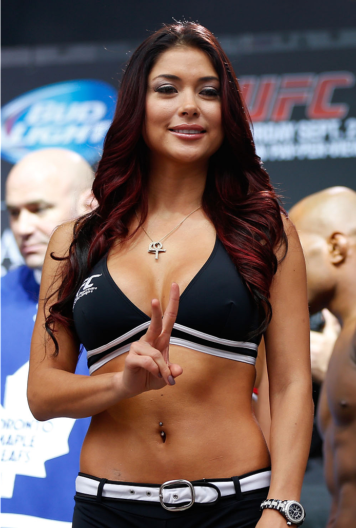 TORONTO, CANADA - SEPTEMBER 20:  UFC Octagon Girl Arianny Celeste stands on stage during the UFC 165 weigh-in event at Maple Leaf Square outside the Air Canada Centre on September 20, 2013 in Toronto, Ontario, Canada. (Photo by Josh Hedges/Zuffa LLC/Zuffa LLC via Getty Images)