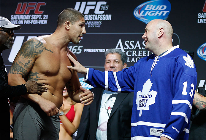 TORONTO, CANADA - SEPTEMBER 20:  (L-R) Brendan Schaub is separated from his opponent Matt Mittrione (not shown) by UFC president Dana White after a heated face off during the UFC 165 weigh-in event at Maple Leaf Square outside the Air Canada Centre on September 20, 2013 in Toronto, Ontario, Canada. (Photo by Josh Hedges/Zuffa LLC/Zuffa LLC via Getty Images)