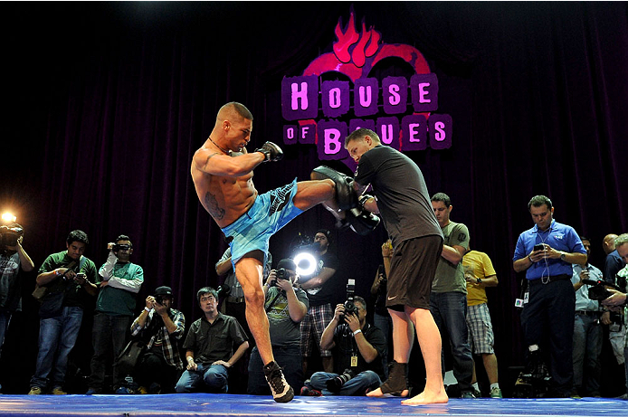 HOUSTON, TX - OCTOBER 16:  Diego Sanchez holds an open training session for fans and media inside House of Blues on October 16, 2013 in Houston, Texas. (Photo by Jeff Bottari/Zuffa LLC/Zuffa LLC via Getty Images) *** Local Caption *** Diego Sanchez