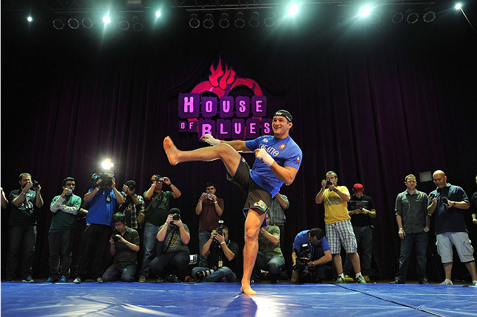 HOUSTON, TX - OCTOBER 16:  Junior Dos Santos holds an open training session for fans and media inside House of Blues on October 16, 2013 in Houston, Texas. (Photo by Jeff Bottari/Zuffa LLC/Zuffa LLC via Getty Images) *** Local Caption *** Junior Dos Santos