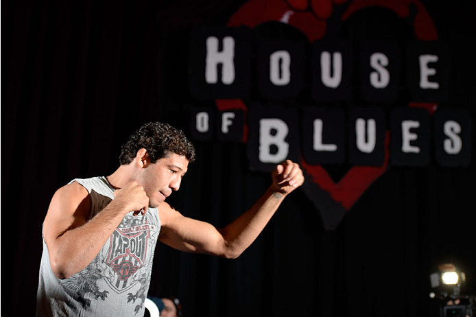 HOUSTON, TX - OCTOBER 16:  Gilbert Melendez holds an open training session for fans and media inside House of Blues on October 16, 2013 in Houston, Texas. (Photo by Jeff Bottari/Zuffa LLC/Zuffa LLC via Getty Images) *** Local Caption *** Gilbert Melendez