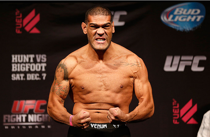 "BRISBANE, AUSTRALIA - DECEMBER 06:  Antonio ""Bigfoot"" Silva weighs in during the UFC Fight Night weigh-in at the Brisbane Entertainment Centre on December 6, 2013 in Brisbane, Australia. (Photo by Josh Hedges/Zuffa LLC/Zuffa LLC via Getty Images)"
