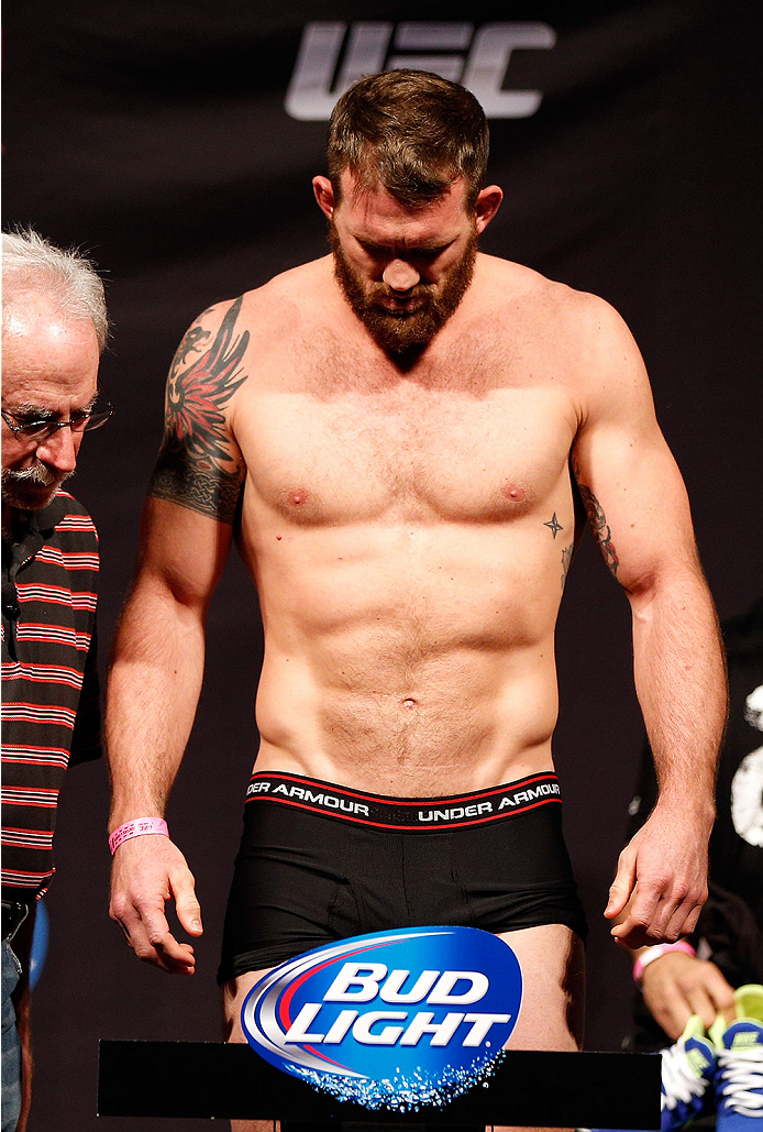 BRISBANE, AUSTRALIA - DECEMBER 06:  Ryan Bader weighs in during the UFC Fight Night weigh-in at the Brisbane Entertainment Centre on December 6, 2013 in Brisbane, Australia. (Photo by Josh Hedges/Zuffa LLC/Zuffa LLC via Getty Images)