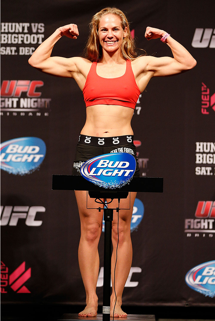 BRISBANE, AUSTRALIA - DECEMBER 06:  Julie Kedzie weighs in during the UFC Fight Night weigh-in at the Brisbane Entertainment Centre on December 6, 2013 in Brisbane, Australia. (Photo by Josh Hedges/Zuffa LLC/Zuffa LLC via Getty Images)