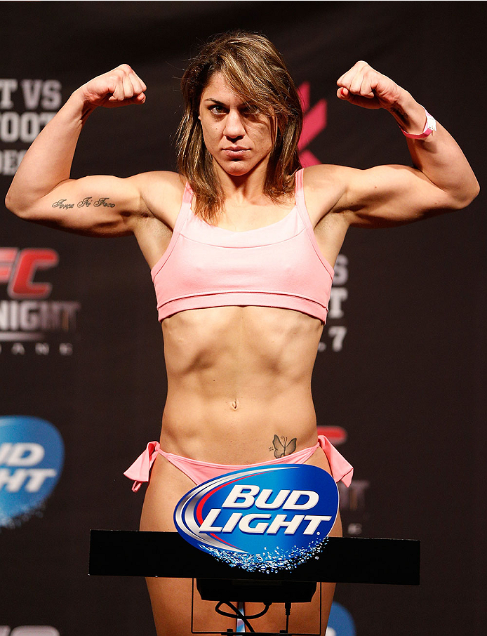 BRISBANE, AUSTRALIA - DECEMBER 06:  Bethe Correia weighs in during the UFC Fight Night weigh-in at the Brisbane Entertainment Centre on December 6, 2013 in Brisbane, Australia. (Photo by Josh Hedges/Zuffa LLC/Zuffa LLC via Getty Images)