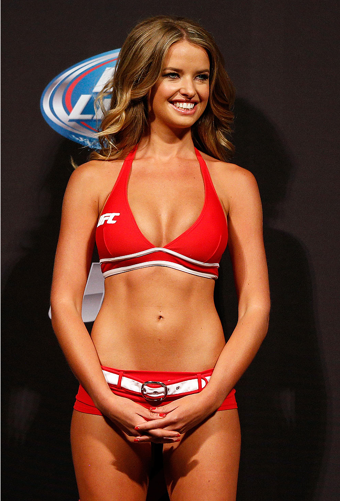 BRISBANE, AUSTRALIA - DECEMBER 06:  UFC Octagon Girl Kahili Blundell stands on stage during the UFC Fight Night weigh-in at the Brisbane Entertainment Centre on December 6, 2013 in Brisbane, Australia. (Photo by Josh Hedges/Zuffa LLC/Zuffa LLC via Getty Images)