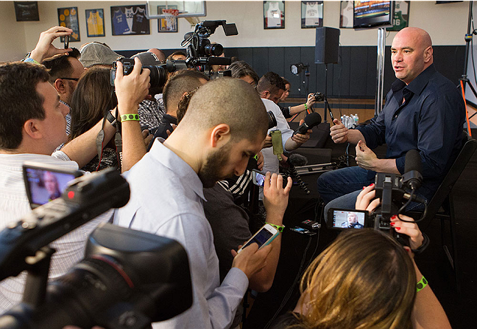 ORLANDO, FL - APRIL 17:  UFC President Dana White interacts with media during the FOX UFC Saturday pre-fight press conference at Shaquille O'Neal's estate on April 17, 2014 in Orlando, Florida. (Photo by Mike Roach/Zuffa LLC/Zuffa LLC via Getty Images)