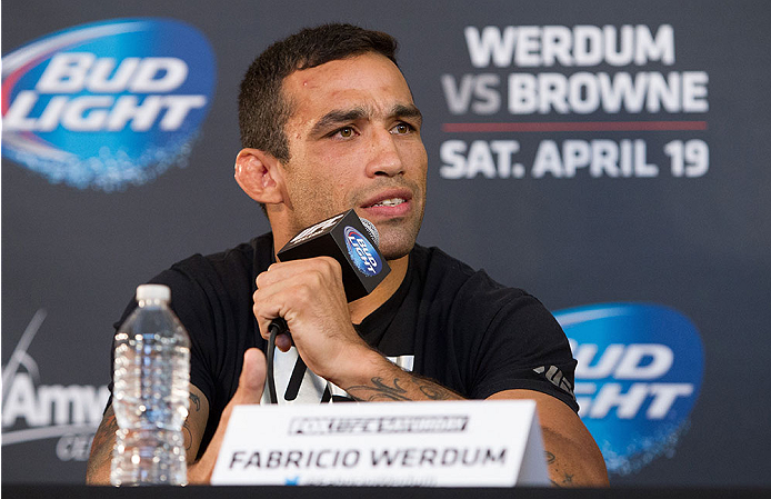 ORLANDO, FL - APRIL 17:  Fabricio Werdum interacts with media during the FOX UFC Saturday pre-fight press conference at Shaquille O'Neal's estate on April 17, 2014 in Orlando, Florida. (Photo by Mike Roach/Zuffa LLC/Zuffa LLC via Getty Images)