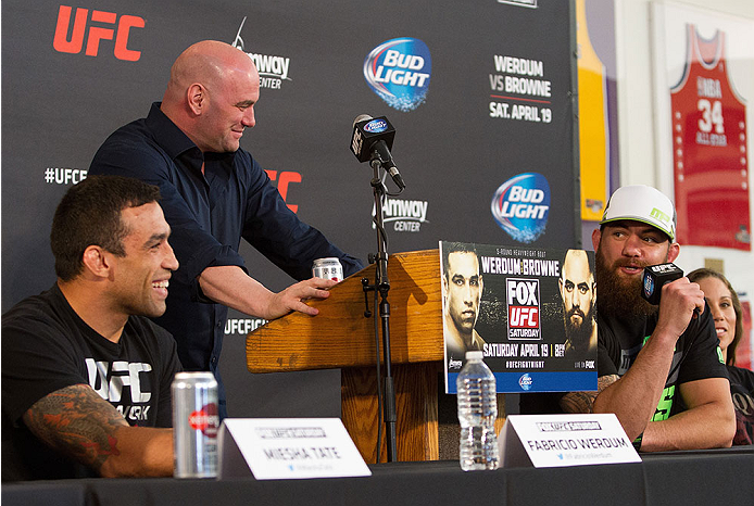 ORLANDO, FL - APRIL 17:  Travis Browne (R) directs comments towards his opponent Fabricio Werdum (L) during the FOX UFC Saturday pre-fight press conference at Shaquille O'Neal's estate on April 17, 2014 in Orlando, Florida. (Photo by Mike Roach/Zuffa LLC/Zuffa LLC via Getty Images)