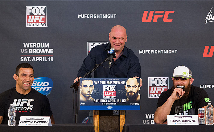 ORLANDO, FL - APRIL 17:  UFC president Dana White (center) and main event fighters Fabricio Werdum (L) and Travis Browne (R) interact with media during the FOX UFC Saturday pre-fight press conference at Shaquille O'Neal's estate on April 17, 2014 in Orlando, Florida. (Photo by Mike Roach/Zuffa LLC/Zuffa LLC via Getty Images)