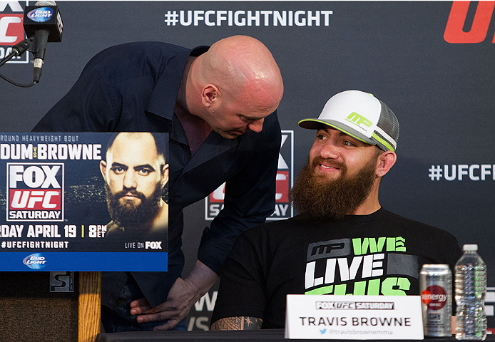 ORLANDO, FL - APRIL 17:  (L-R) UFC President Dana White talks with Travis Browne during the FOX UFC Saturday pre-fight press conference at Shaquille O'Neal's estate on April 17, 2014 in Orlando, Florida. (Photo by Mike Roach/Zuffa LLC/Zuffa LLC via Getty Images)