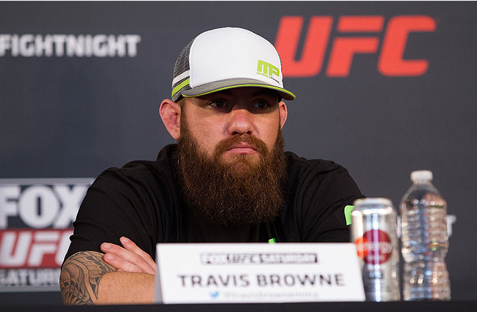 ORLANDO, FL - APRIL 17:  Travis Browne interacts with media during the FOX UFC Saturday pre-fight press conference at Shaquille O'Neal's estate on April 17, 2014 in Orlando, Florida. (Photo by Mike Roach/Zuffa LLC/Zuffa LLC via Getty Images)