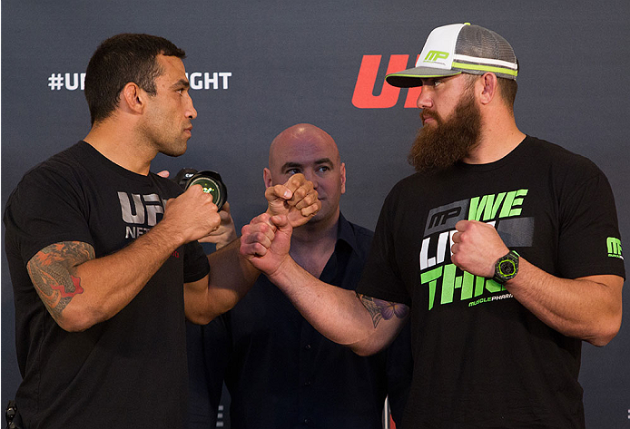 ORLANDO, FL - APRIL 17:  (L-R) Opponents Fabricio Werdum and Travis Browne face off during the FOX UFC Saturday pre-fight press conference at Shaquille O'Neal's estate on April 17, 2014 in Orlando, Florida. (Photo by Mike Roach/Zuffa LLC/Zuffa LLC via Getty Images)