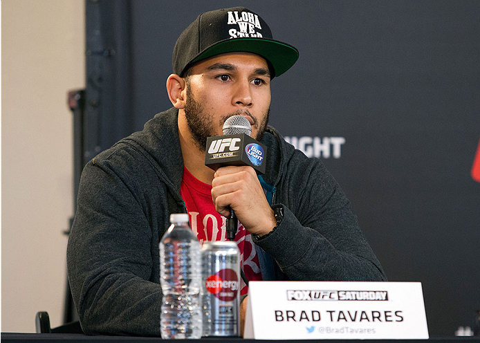 ORLANDO, FL - APRIL 17:  Brad Tavares interacts with media during the FOX UFC Saturday pre-fight press conference at Shaquille O'Neal's estate on April 17, 2014 in Orlando, Florida. (Photo by Mike Roach/Zuffa LLC/Zuffa LLC via Getty Images)