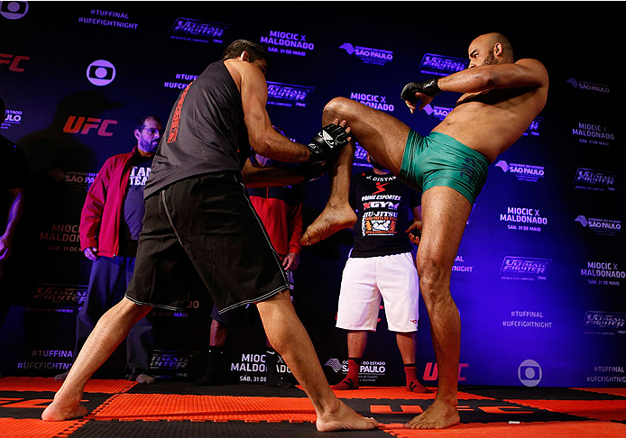 SAO PAULO, BRAZIL - MAY 29:  Warlley Alves holds an open training session for media at the Renaissance Hotel on May 29, 2014 in Sao Paulo, Brazil. (Photo by Josh Hedges/Zuffa LLC/Zuffa LLC via Getty Images)