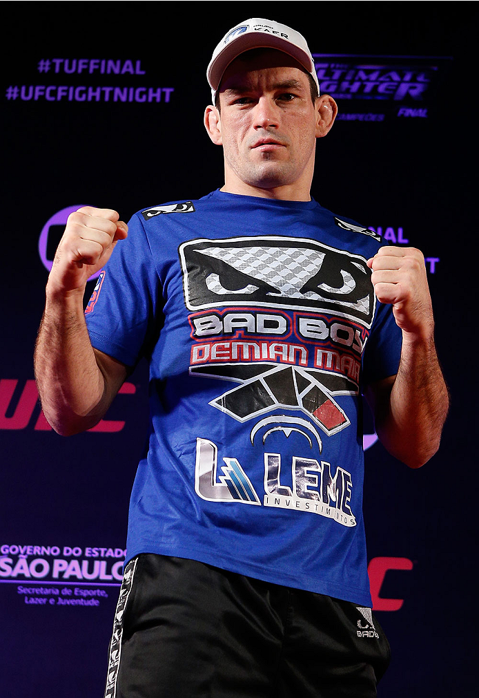 SAO PAULO, BRAZIL - MAY 29:  Demian Maia poses for photos before the UFC open workouts at the Renaissance Hotel on May 29, 2014 in Sao Paulo, Brazil. (Photo by Josh Hedges/Zuffa LLC/Zuffa LLC via Getty Images)