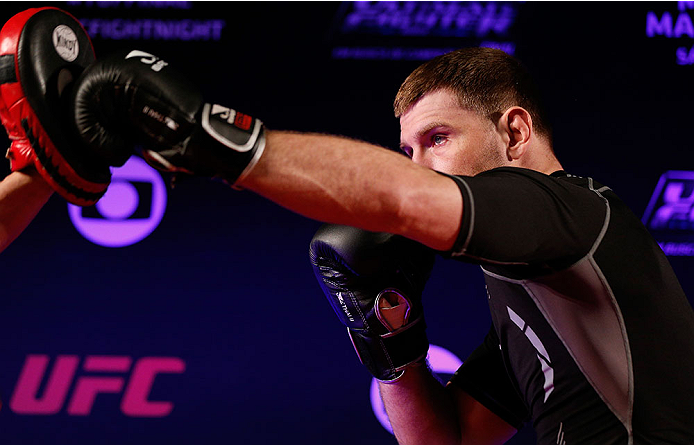 SAO PAULO, BRAZIL - MAY 29:  Stipe Miocic holds an open training session for media at the Renaissance Hotel on May 29, 2014 in Sao Paulo, Brazil. (Photo by Josh Hedges/Zuffa LLC/Zuffa LLC via Getty Images)