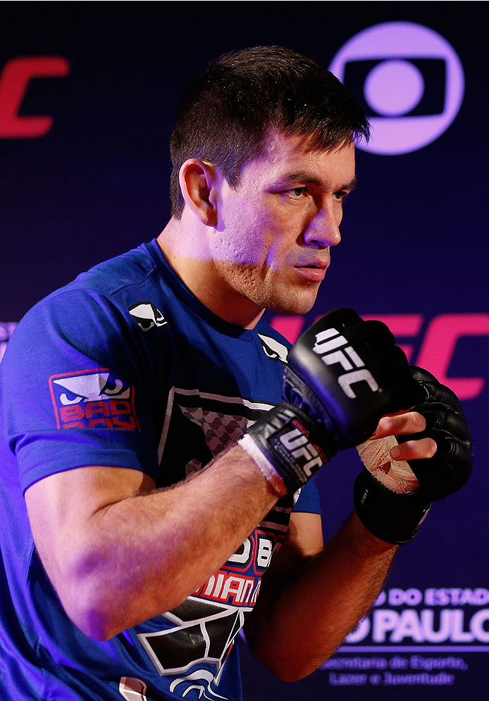 SAO PAULO, BRAZIL - MAY 29:  Demian Maia holds an open training session for media at the Renaissance Hotel on May 29, 2014 in Sao Paulo, Brazil. (Photo by Josh Hedges/Zuffa LLC/Zuffa LLC via Getty Images)
