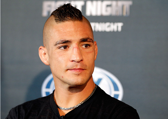 ALBUQUERQUE, NM - JUNE 05:  Diego Sanchez interacts with media during the UFC Ultimate Media day at EXPO New Mexico on June 5, 2014 in Albuquerque, New Mexico. (Photo by Josh Hedges/Zuffa LLC/Zuffa LLC via Getty Images)