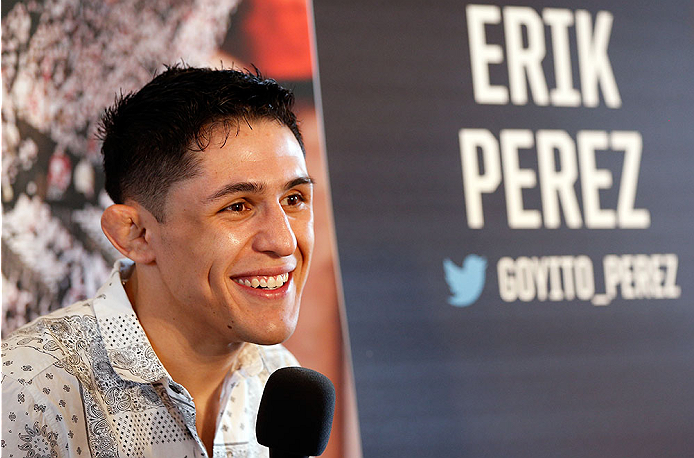 ALBUQUERQUE, NM - JUNE 05:  Erik Perez interacts with media during the UFC Ultimate Media day at EXPO New Mexico on June 5, 2014 in Albuquerque, New Mexico. (Photo by Josh Hedges/Zuffa LLC/Zuffa LLC via Getty Images)