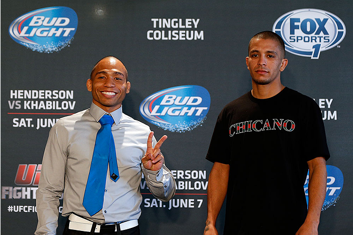 ALBUQUERQUE, NM - JUNE 05:  (L-R) Opponents John Dodson and John Moraga pose for photos during the UFC Ultimate Media day at EXPO New Mexico on June 5, 2014 in Albuquerque, New Mexico. (Photo by Josh Hedges/Zuffa LLC/Zuffa LLC via Getty Images)