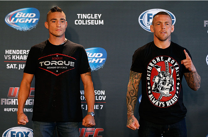 ALBUQUERQUE, NM - JUNE 05:  (L-R) Opponents Diego Sanchez and Ross Pearson pose for photos during the UFC Ultimate Media day at EXPO New Mexico on June 5, 2014 in Albuquerque, New Mexico. (Photo by Josh Hedges/Zuffa LLC/Zuffa LLC via Getty Images)