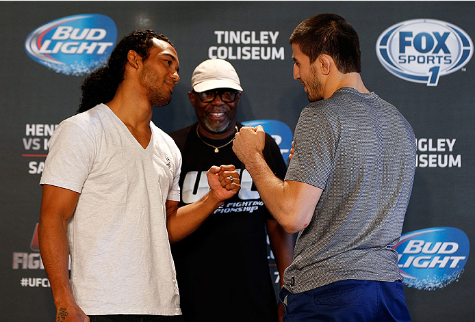 ALBUQUERQUE, NM - JUNE 05:  (L-R) Opponents Benson Henderson and Rustam Khabilov face off during the UFC Ultimate Media day at EXPO New Mexico on June 5, 2014 in Albuquerque, New Mexico. (Photo by Josh Hedges/Zuffa LLC/Zuffa LLC via Getty Images)